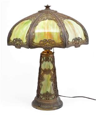 Green slag glass lamp attributed to Miller c 1900