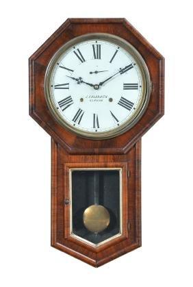 American regulator wall clock, rosewood & mahogany