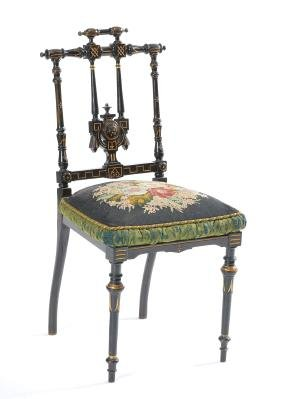 Victorian Eastlake music chair, original needlepoint