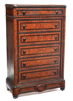 French tall birdseye/walnut chest of drawers