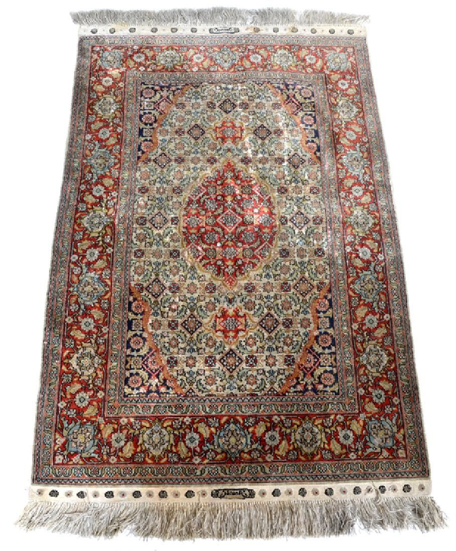 Persian Silk Scatter Rug, signed