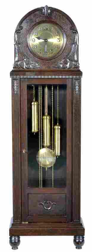 German 3 Weight Art Deco Oak Grandfather Clock