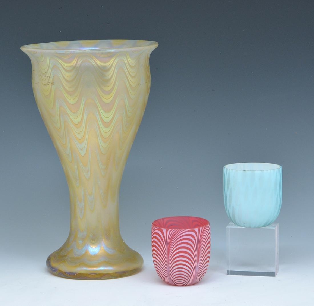 "Loetz Austria feather glass vase 9 1/2""t, 2 lamp shades"