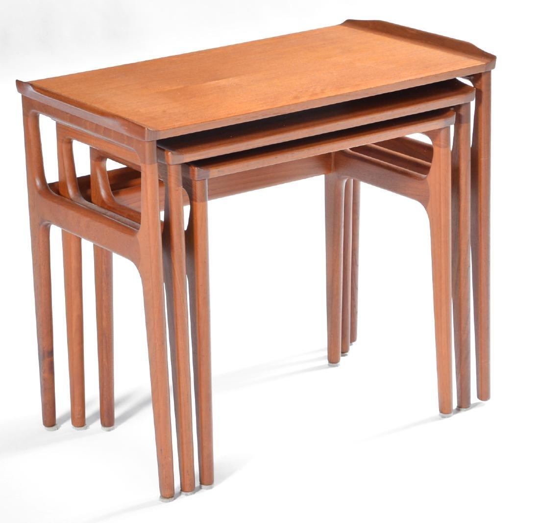 Danish mid century modern teak nesting tables - 2