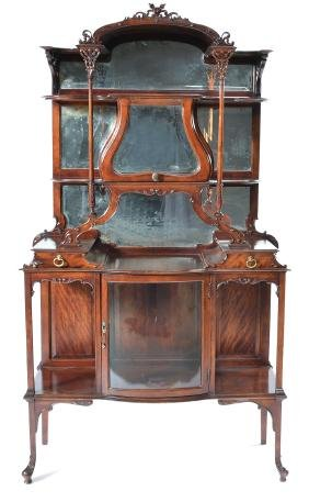 Victorian art nouveau whatnot with mirrored back