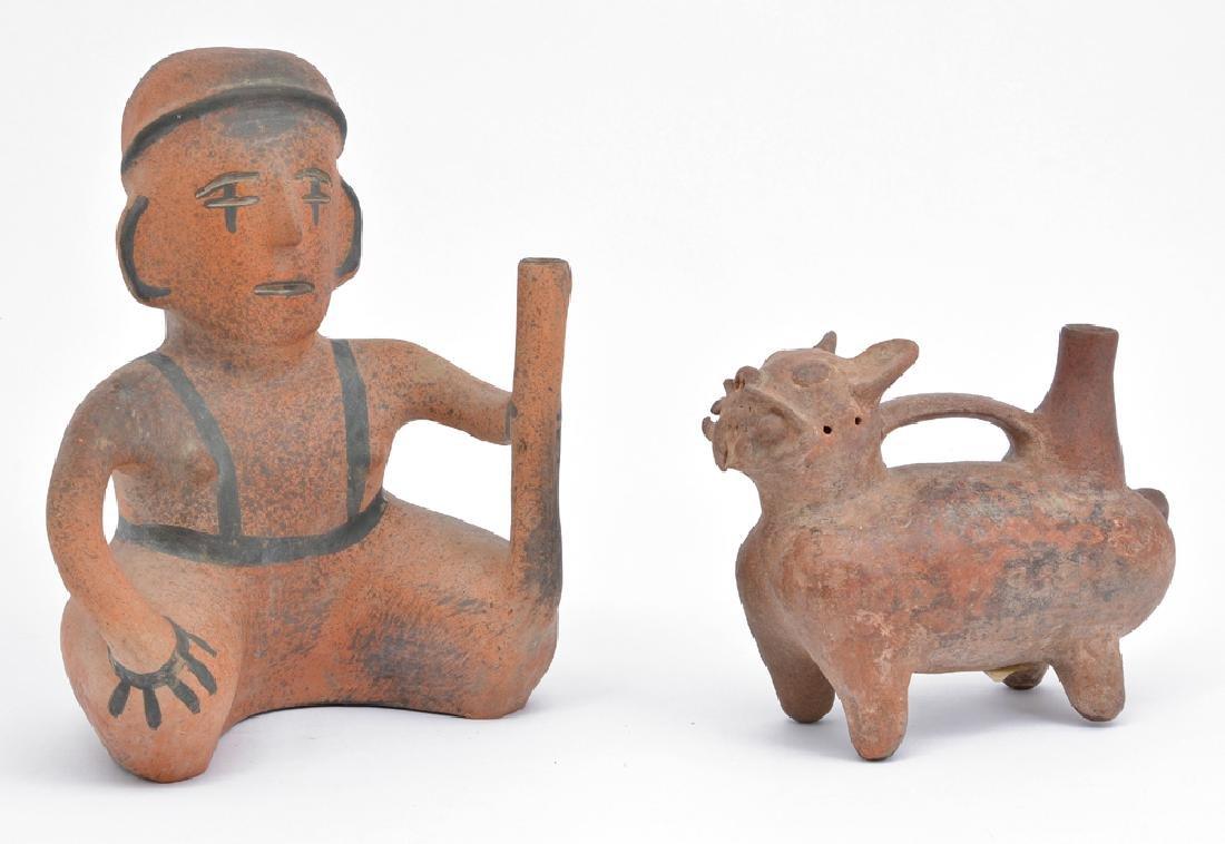 Pre-Columbian Chavin Stirrup Vessel & 20th C Colima