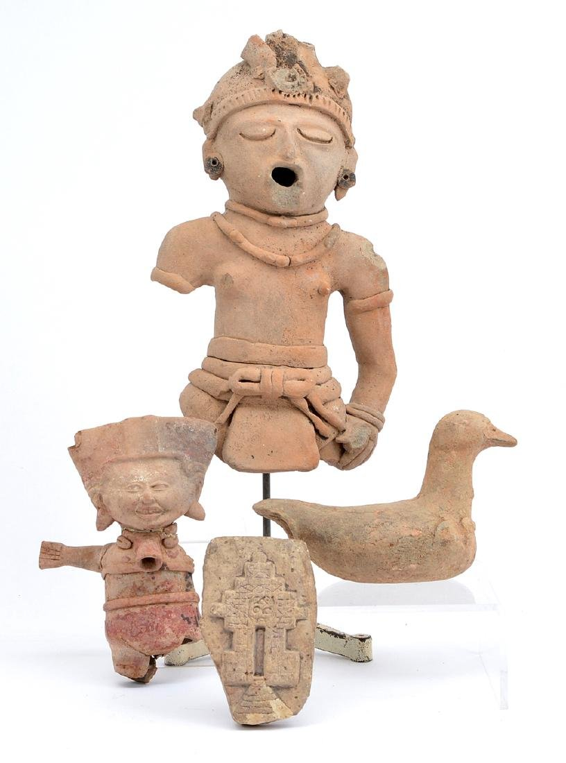 2 Pre-Columbian figures, bird and plaque
