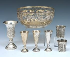 7 Silver items: cups and bowl