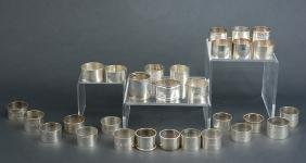 29 Sterling Napkin Rings, English, American, Chinese