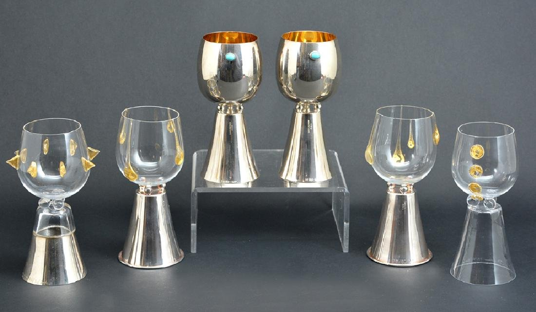 6 sterling silver & glass goblets, Cleto Murani