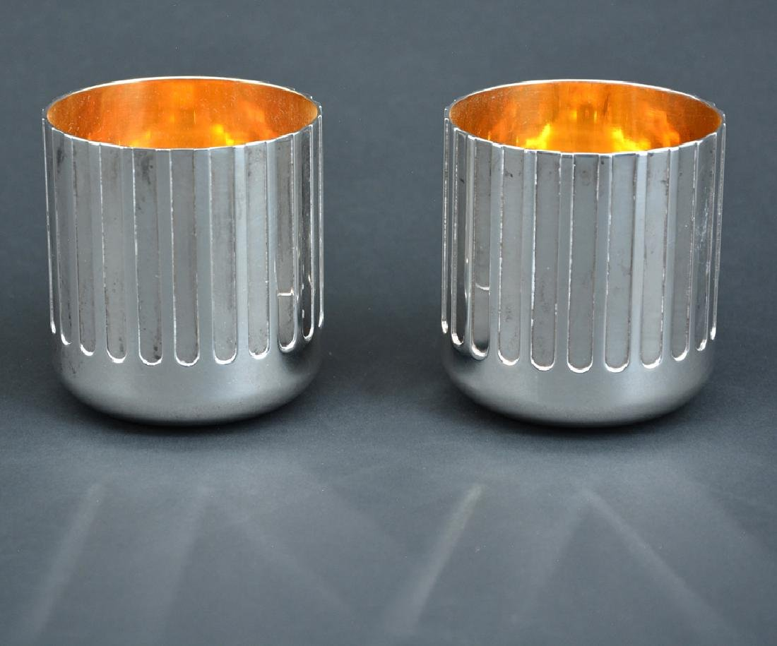 Pair of Italian Bulgari sterling silver tumblers