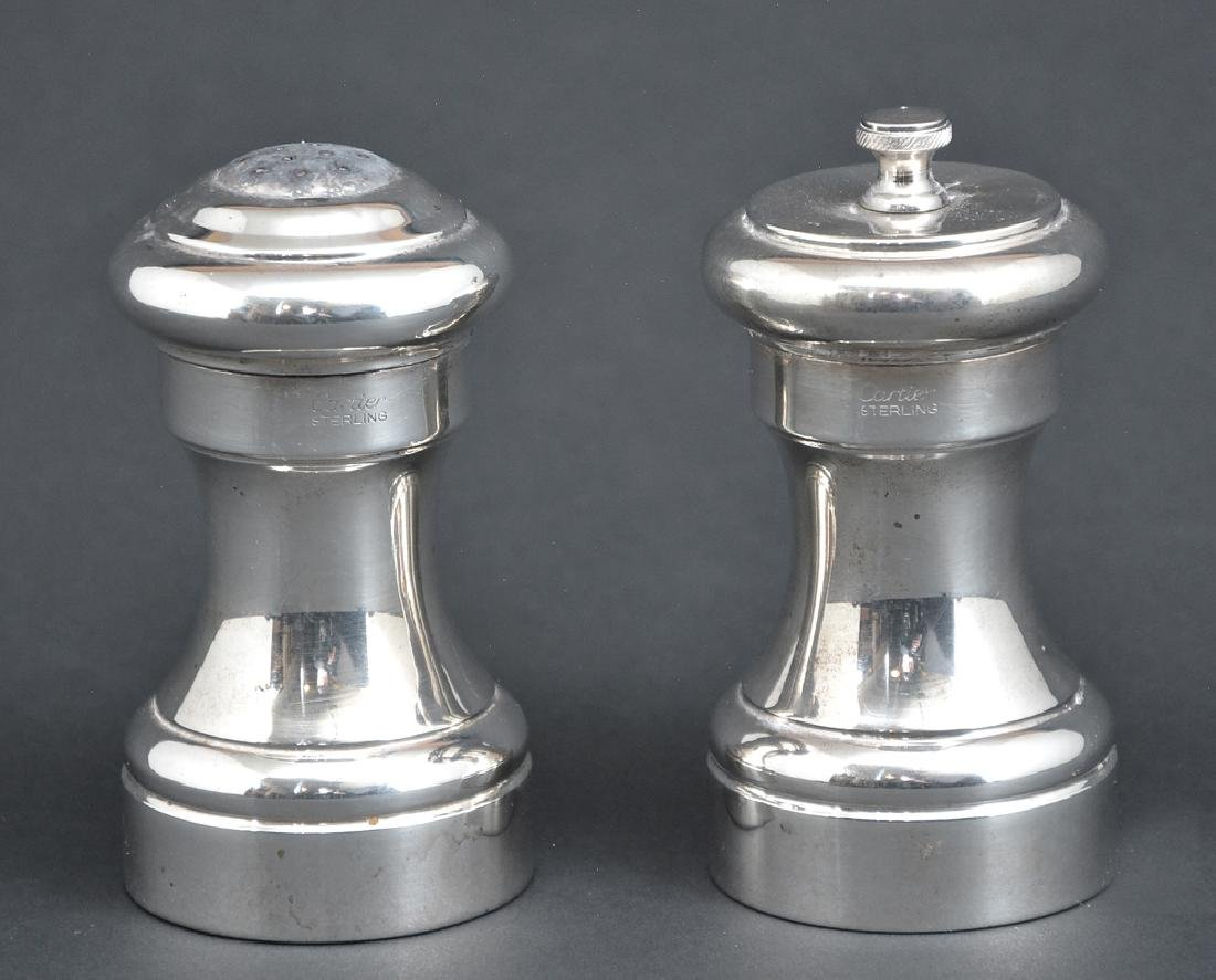 Pair of Cartier sterling silver salt and pepper