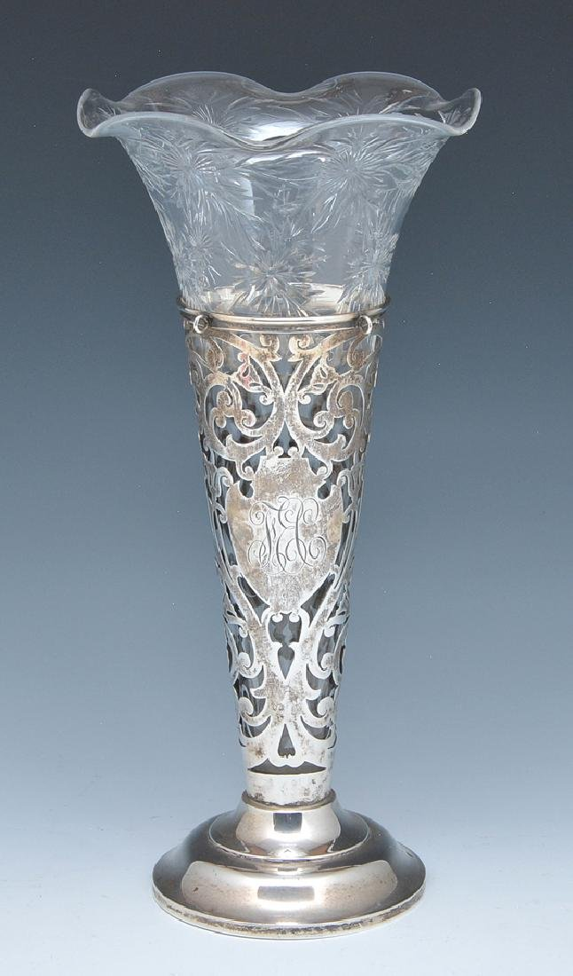 Sterling and cut crystal trumpet vase