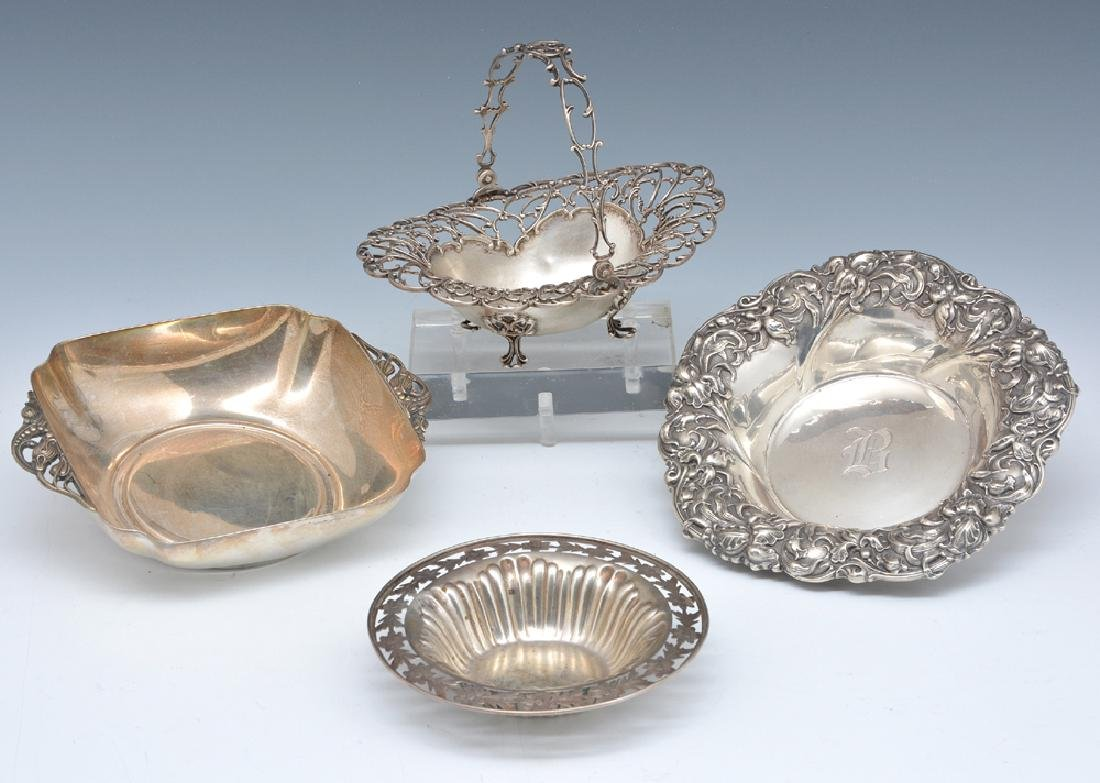 4 Sterling pieces: bowls and basket