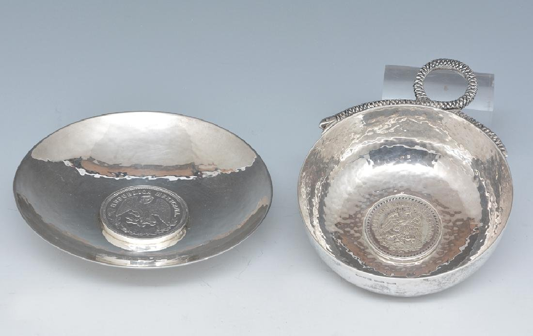 2 Mexican sterling silver dishes with coins