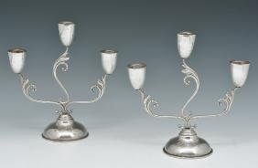Pair Mexico sterling silver 3 light candlesticks