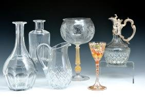 6 Wine related crystal pieces including Murano