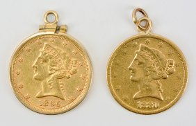 2 Five dollar liberty head gold coins
