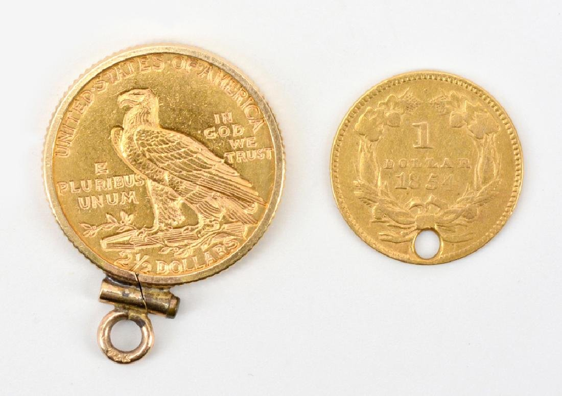 One dollar and two and a half dollar gold coins - 2