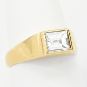 18K Gold 1.24 Carat Emerald-Cut Diamond Ring