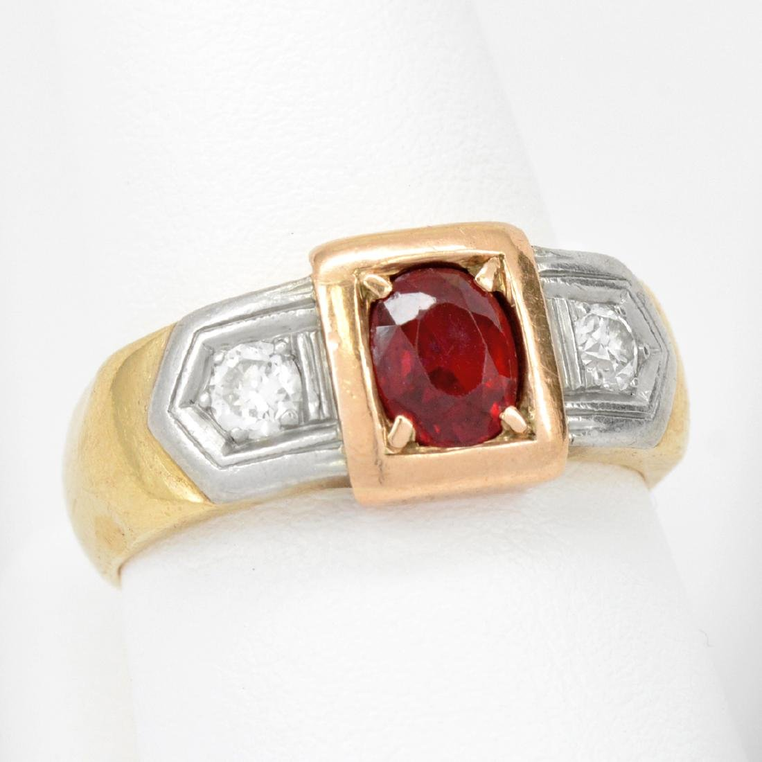 14K Gold Oval Ruby & Diamond Ring