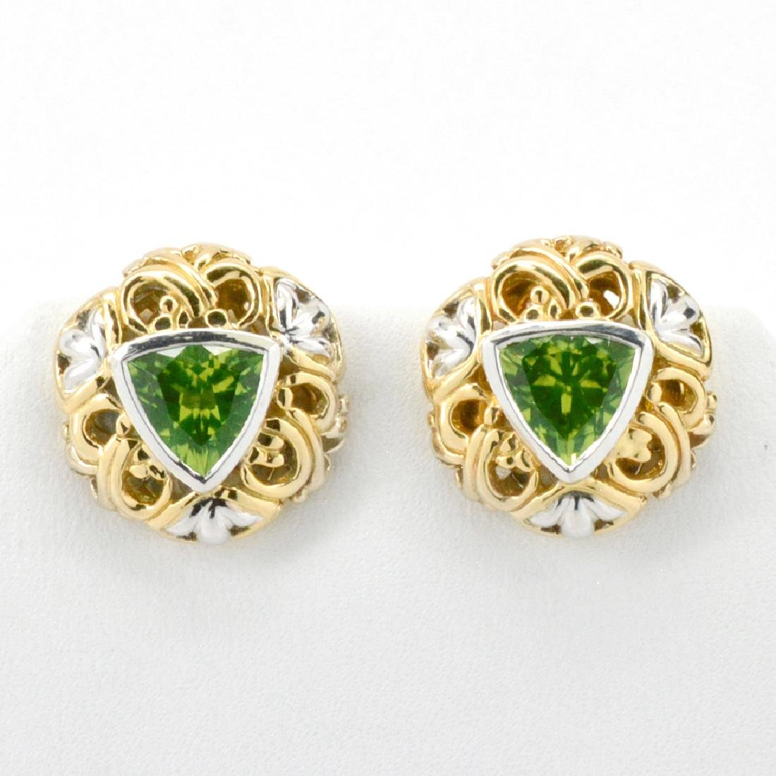 18K Gold John Hardy Peridot Earrings