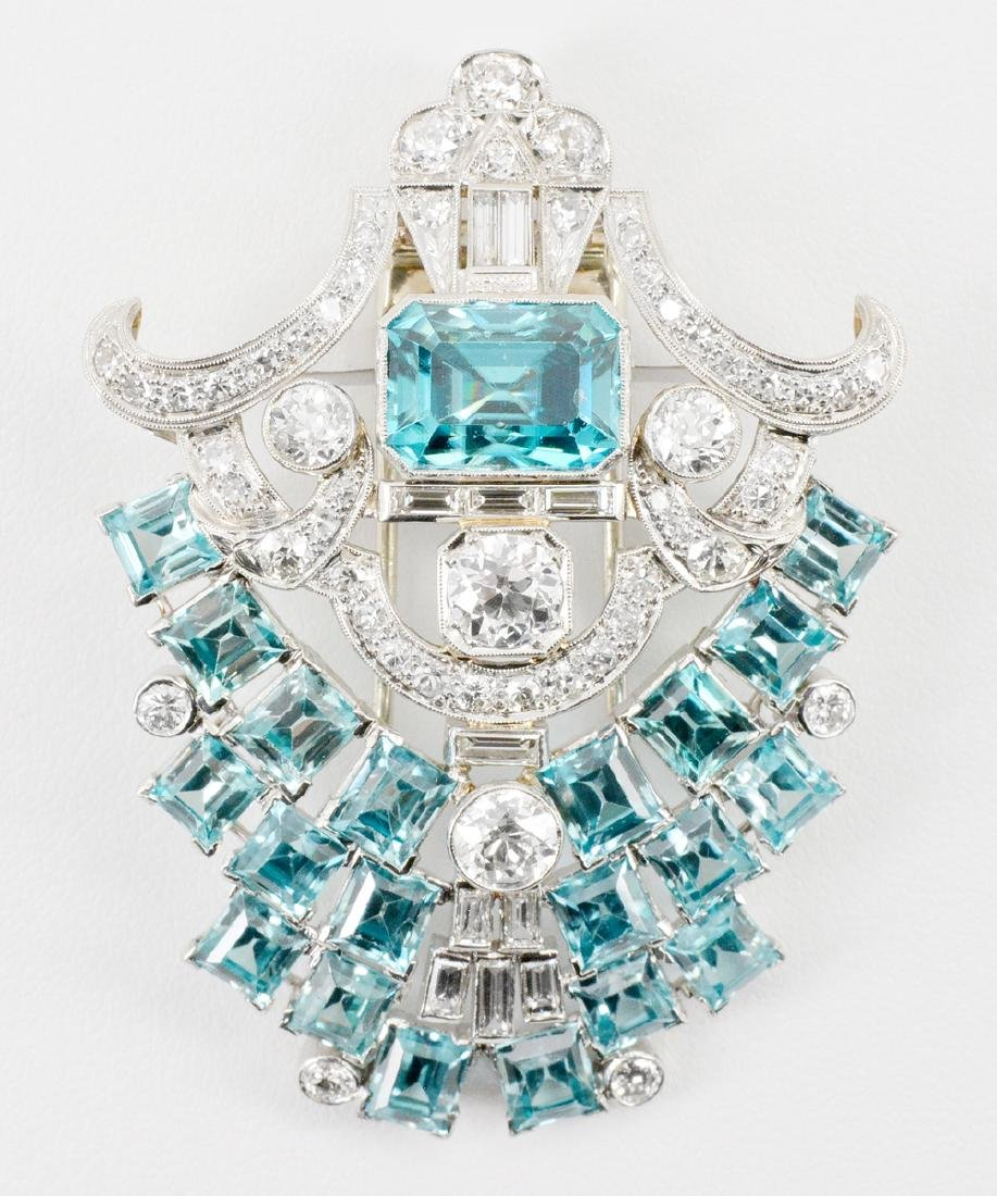 Platinum, Blue Zircon & Diamond Brooch