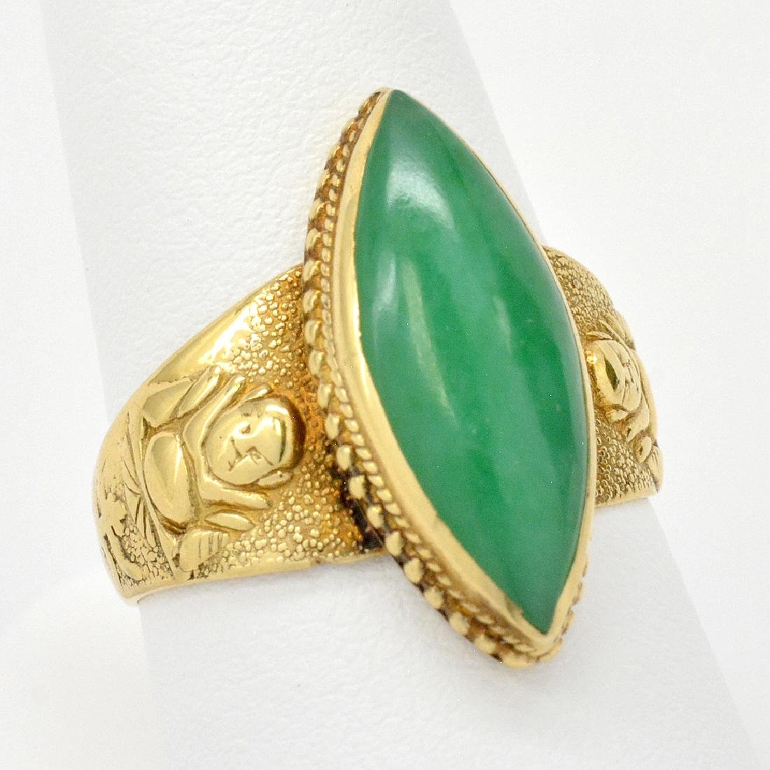 18K Gold Marquise-Cut Jade Ring With Buddhas