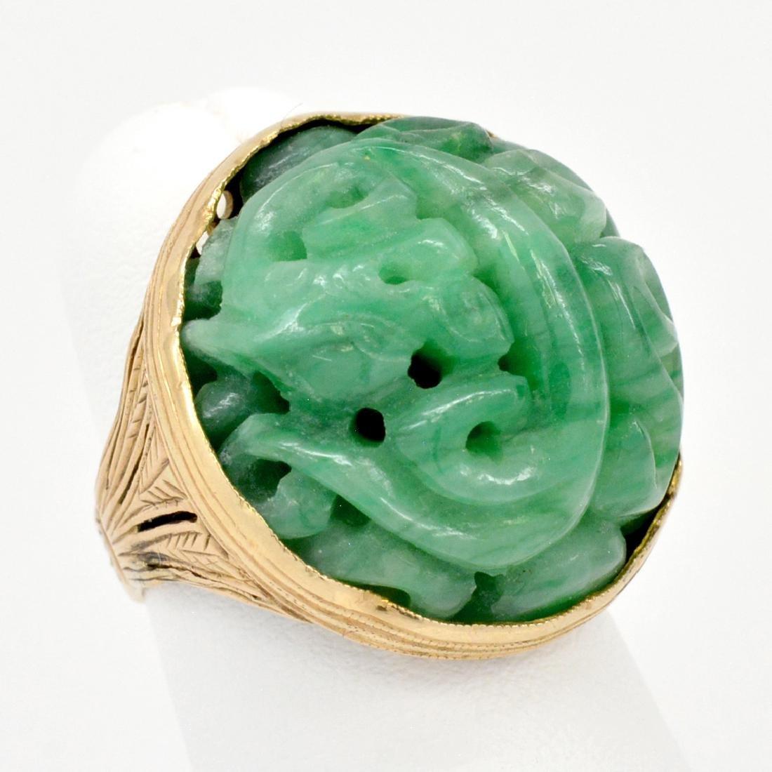 14K Gold Carved & Pierced Dragon Jade Ring