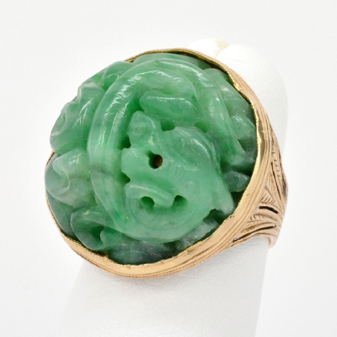 14K Gold Carved & Pierced Dragon Jade Ring - 2