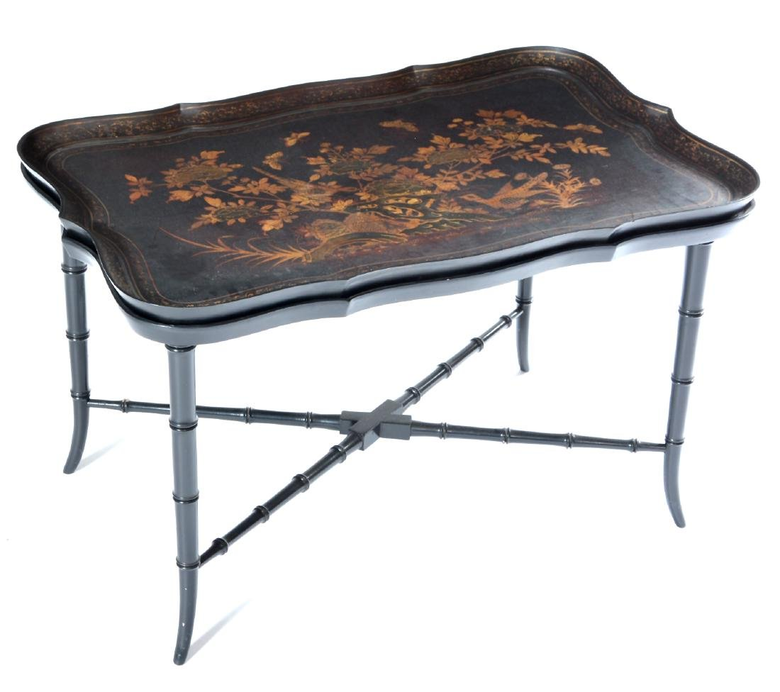 English tole tray table on fitted faux bamboo base