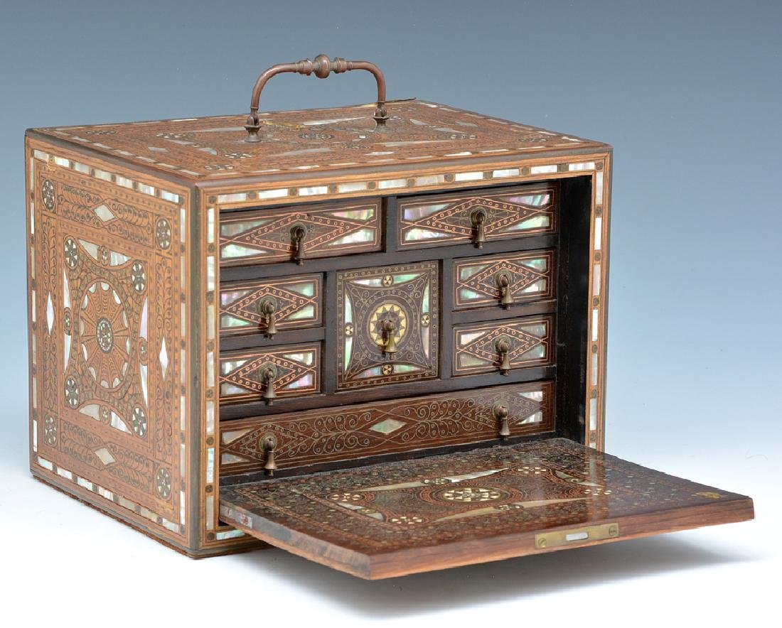 Rosewood jewelry casket with mother of pearl inlay