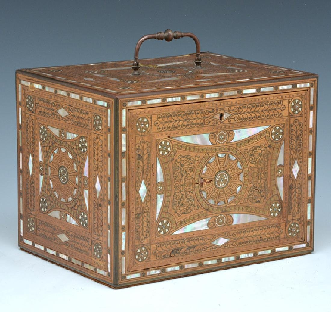 Rosewood jewelry casket with mother of pearl inlay - 2