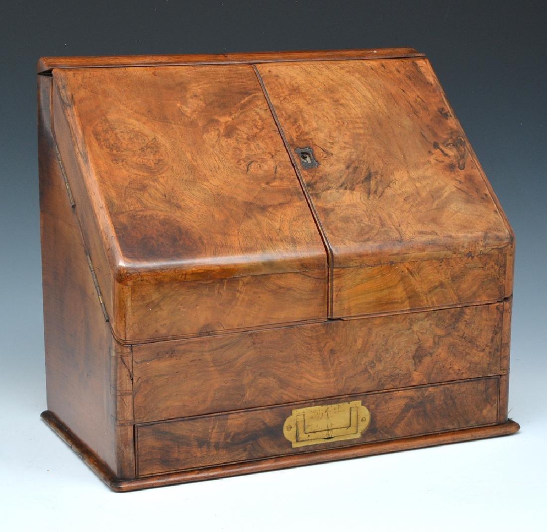 Burl Walnut Letter Box, 19th c - 2