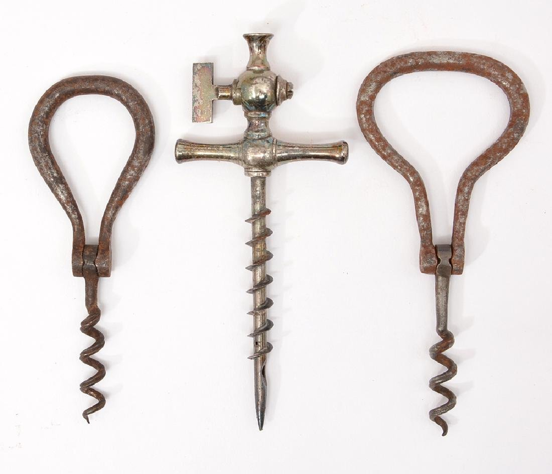 3 French 18th/19th c corkscrews