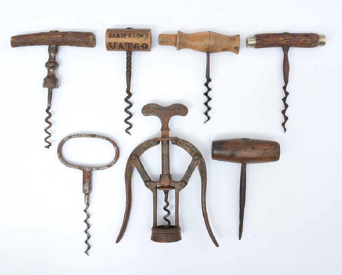 7 19th c corkscrews incl. James Heeley & Sons