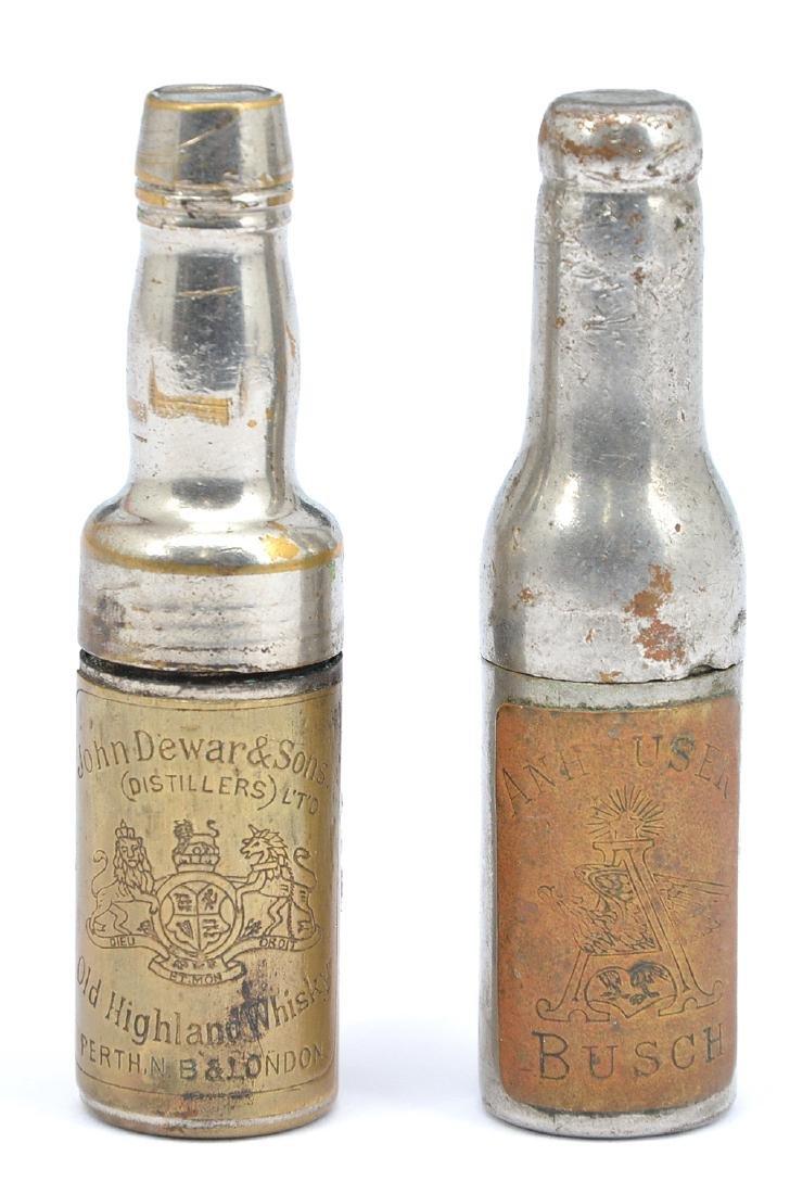 2 Bottle form corkscrews, John Dewars and Anheuser Bush