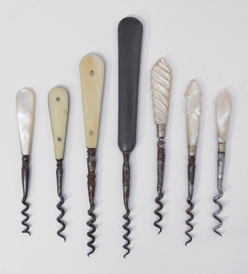 7 Rare 19th c English ladies handbag corkscrews