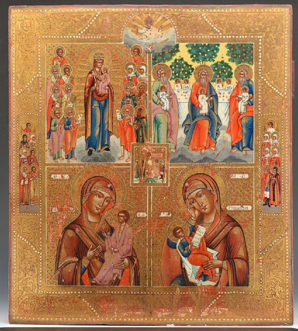 Russian Icon with four scenes and God Sabaoth, early