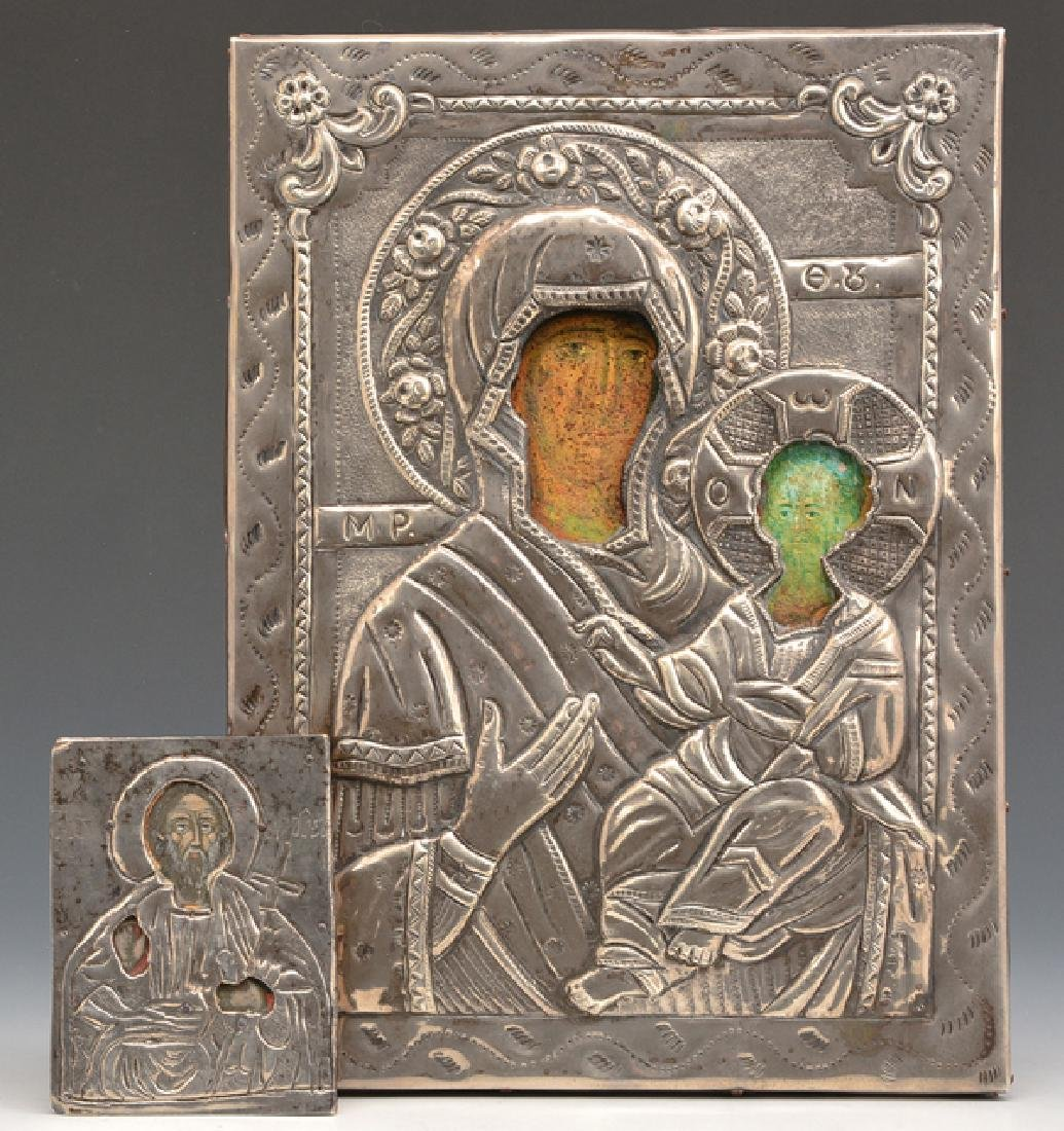 2 Greek Icons, Mother of God and Saint