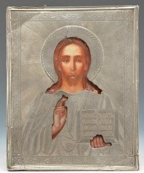 Russian Icon, Christ Pantocrator in silver cover, 19th
