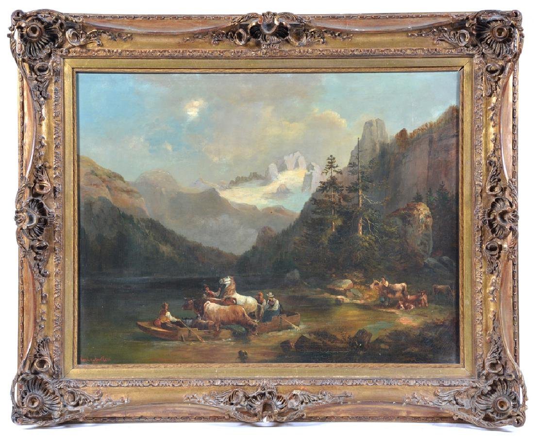 Carl V. Andlau, Fording an Alpine River, 19th c