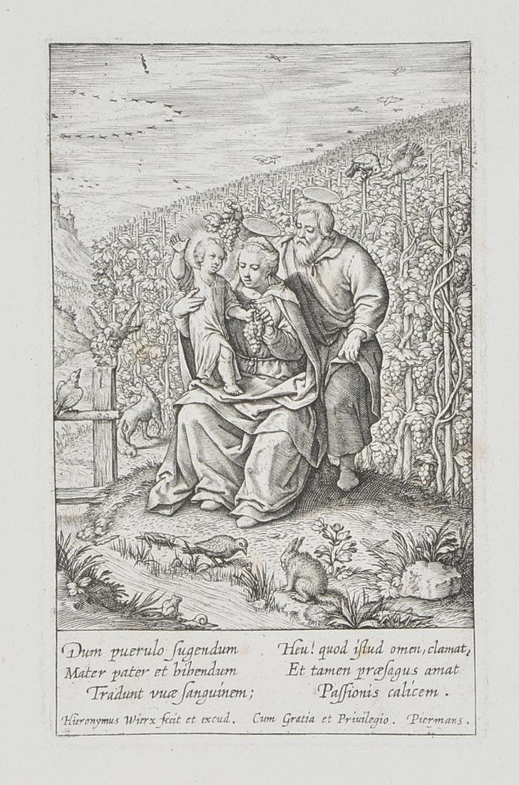 The Holy family in the vineyard, Engraving