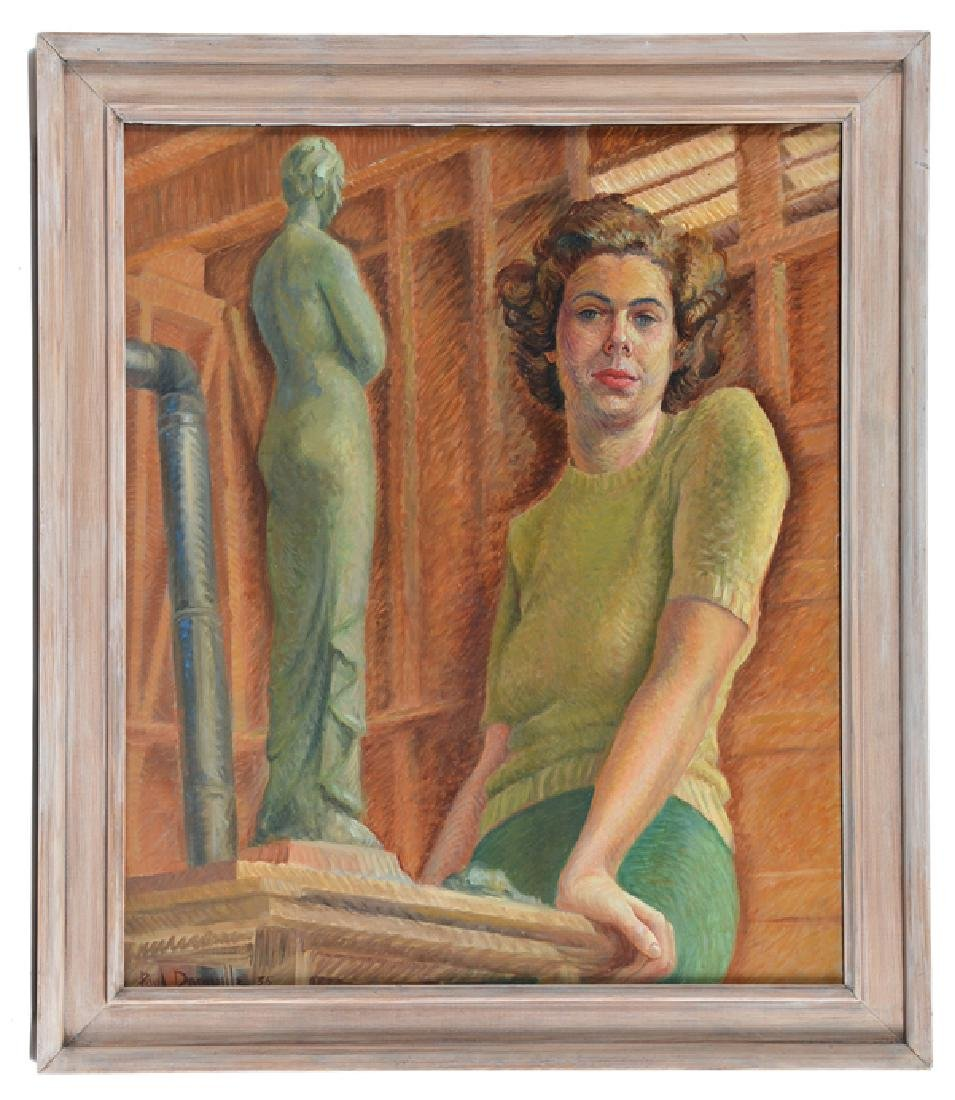 Paul Domville, woman with statue, O/C