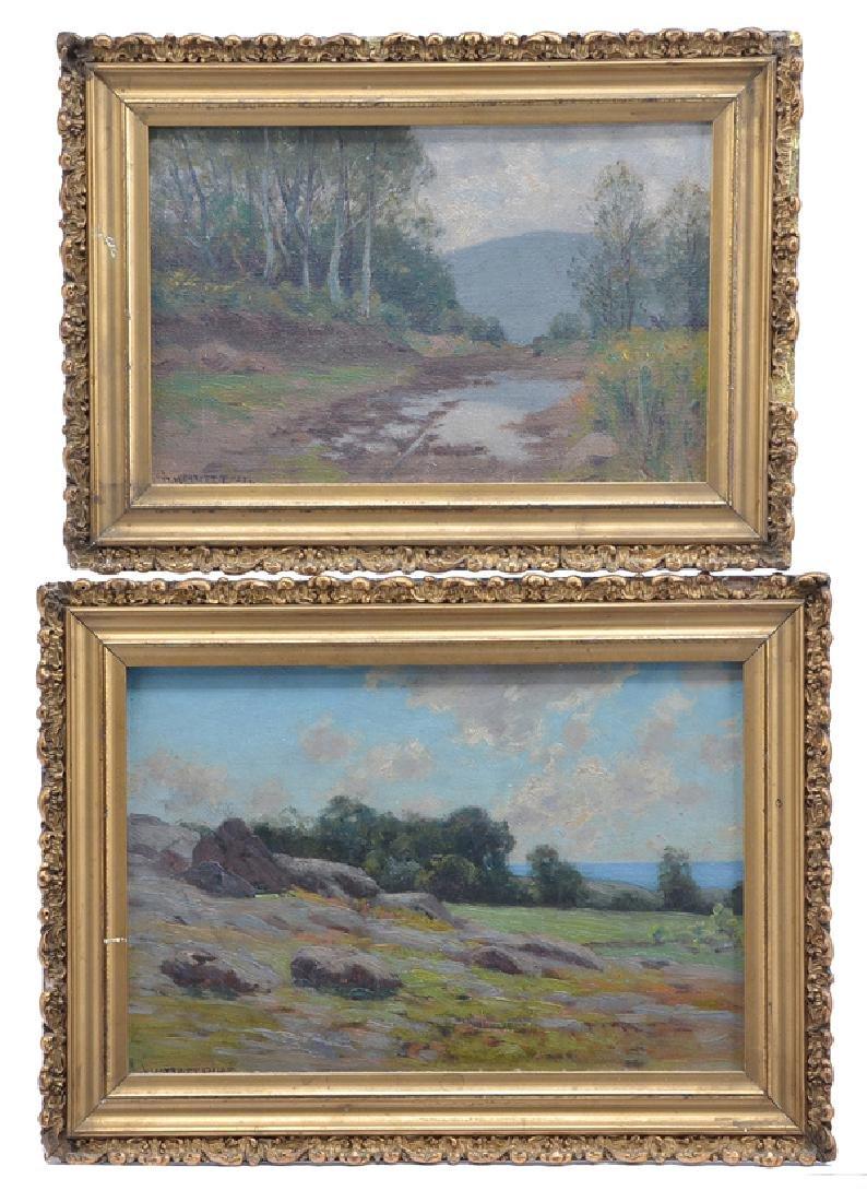 William Merritt Post, 2 landscapes, oils on boards