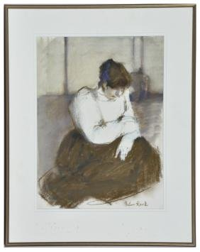 Helen Kask, Seated Woman, Charcoal and Watercolor