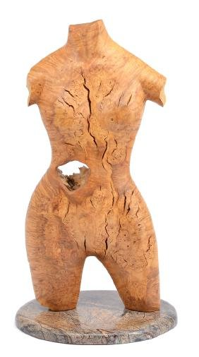 "C. Lockwood, ""Torso"",  pecan wood sculpture on marble"