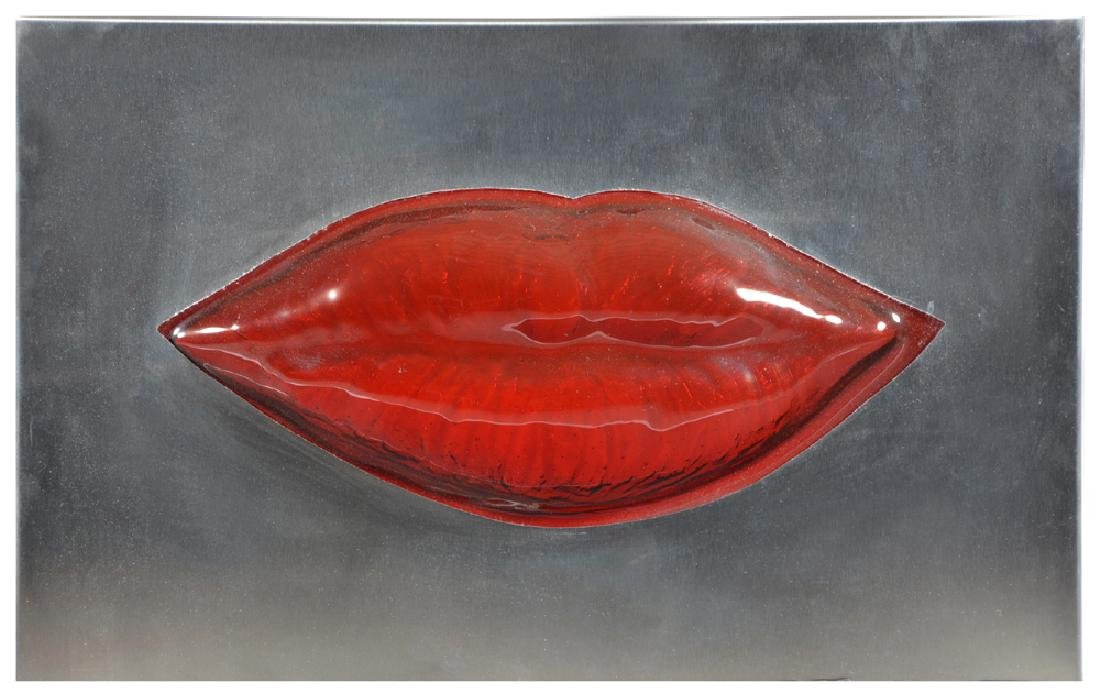 Gordon Huether, Lips, Steel & Glass Sculpture, Lighted