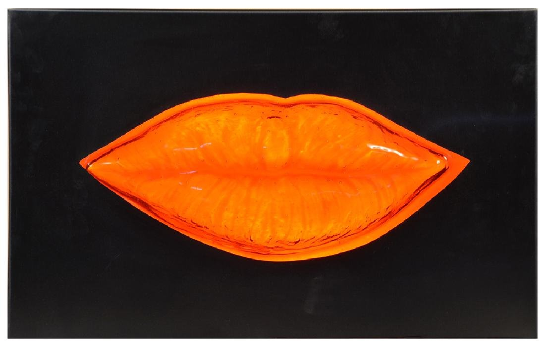 Gordon Huether, Lips, Steel & Glass Sculpture, Lighted - 2