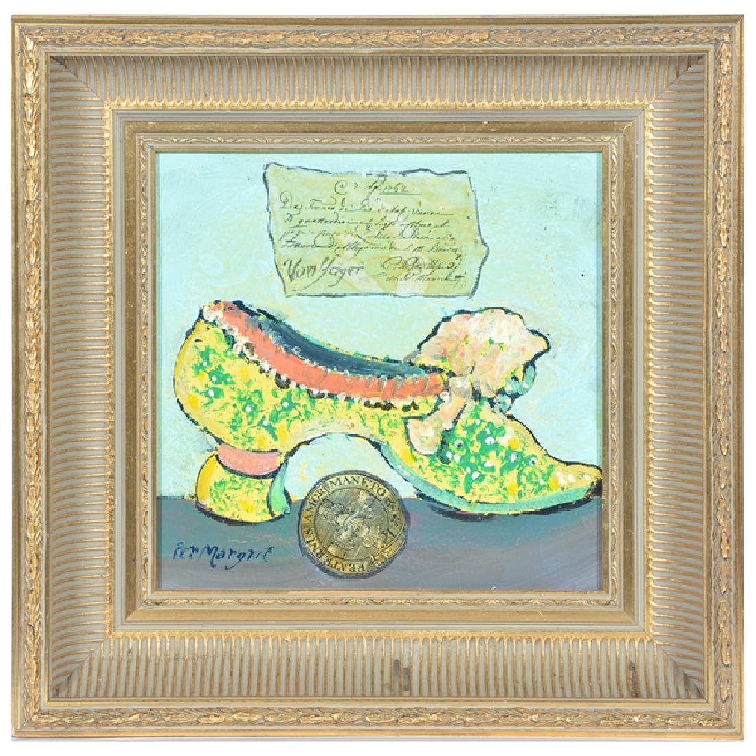 Ira Yeager, 18th c Italian Shoe, Oil/Collage